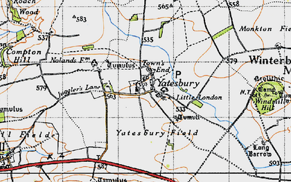 Old map of Yatesbury Field in 1940