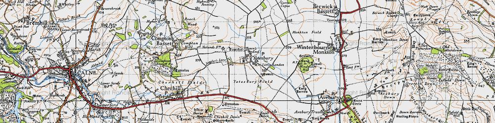Old map of Yatesbury in 1940