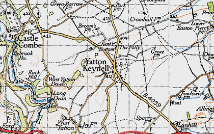 Old map of Yatton Keynell in 1946
