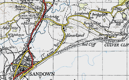 Old map of Yaverland in 1945