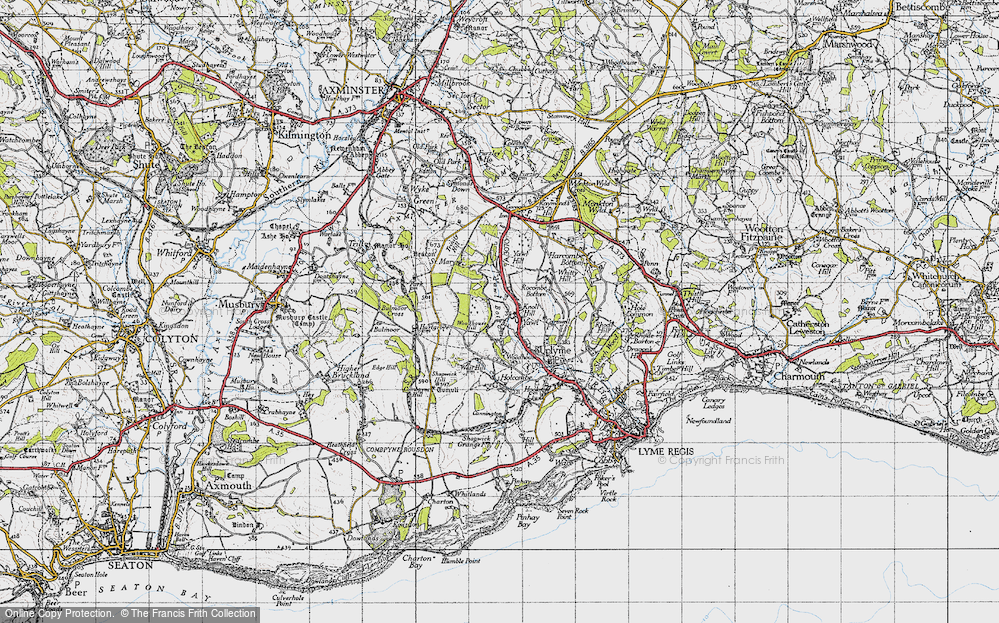 Old Map of Historic Map covering Woodhouse Hill in 1945