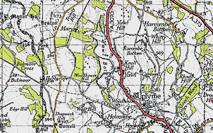 Old map of Yawl Hill in 1945