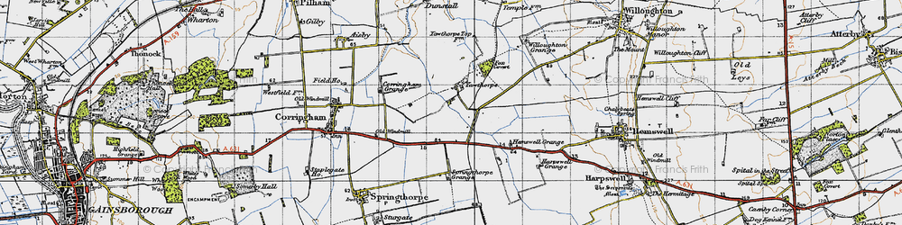 Old map of Willoughton Grange in 1947