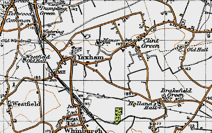 Old map of Yaxham in 1946