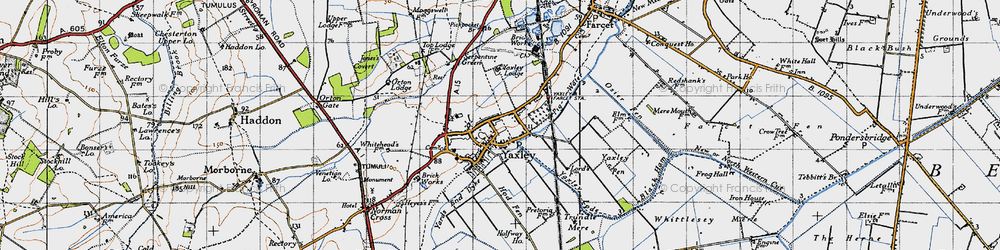 Old map of Yaxley Lode in 1946