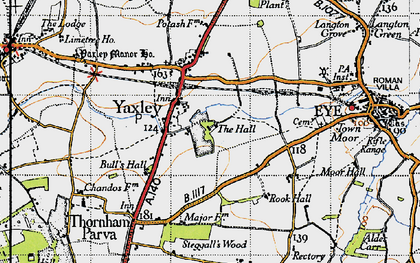 Old map of Yaxley in 1946
