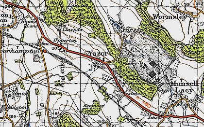Old map of Yazor in 1947