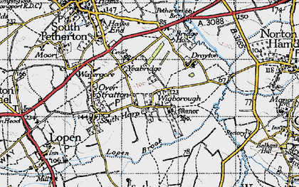 Old map of Yeabridge in 1945