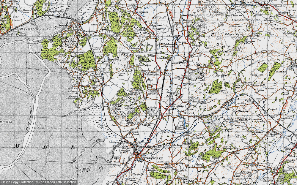 Old Map of Historic Map covering Leighton Hall in 1947