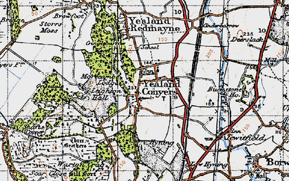 Old map of Yealand Conyers in 1947