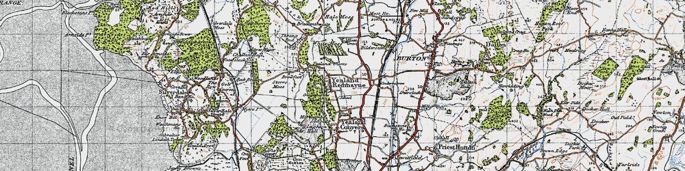 Old map of Yealand Redmayne in 1947