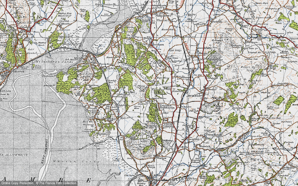 Old Map of Historic Map covering Leighton Ho in 1947