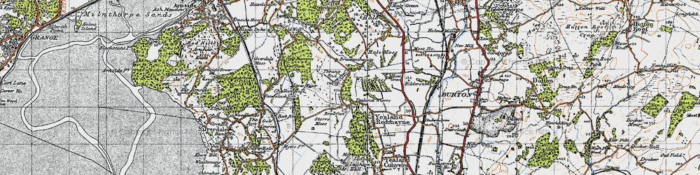 Old map of Yealand Storrs in 1947