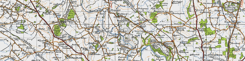 Old map of Adcote Mill in 1947