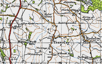 Old map of Yeaveley in 1946