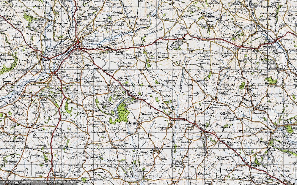 Old Map of Yeldersley Hollies, 1946 in 1946