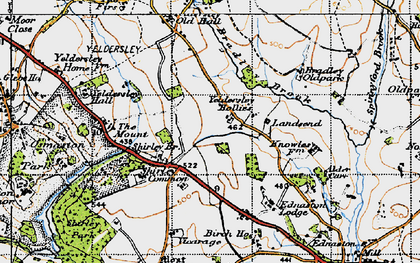 Old map of Yeldersley Hollies in 1946