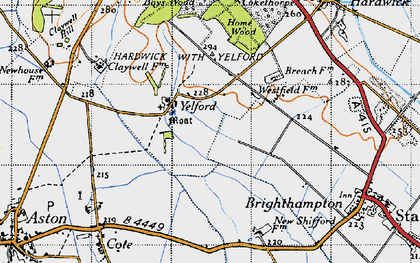 Old map of Yelford in 1947