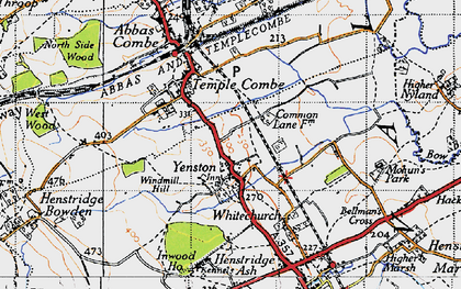 Old map of Yenston in 1945
