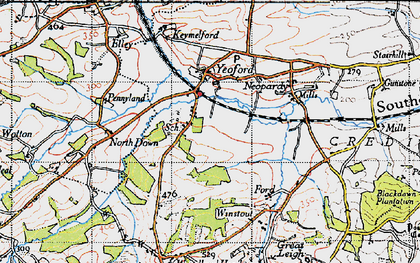 Old map of Yeoford in 1946
