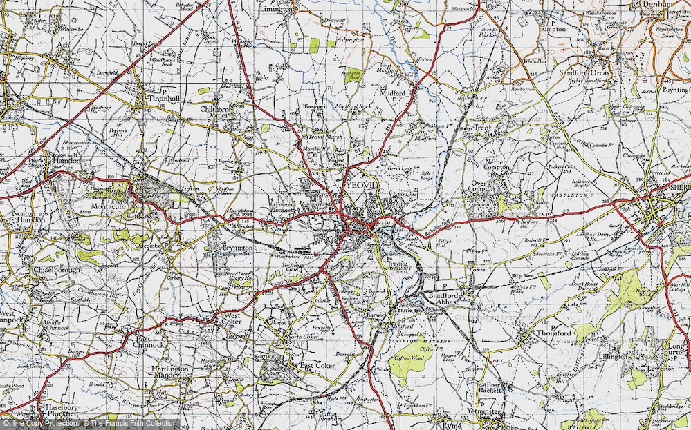 Old Map of Historic Map covering Aldon in 1945