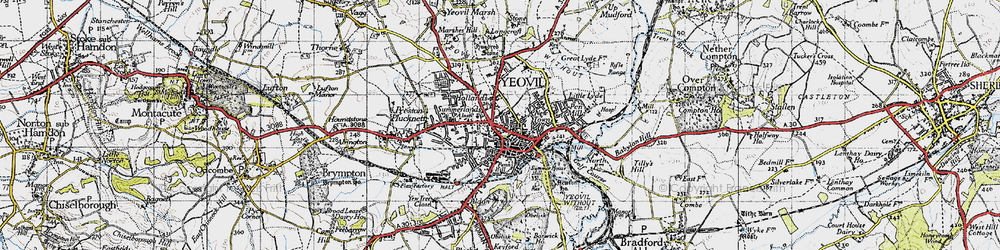 Old map of Aldon in 1945