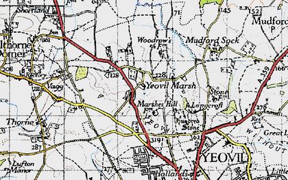 Old map of Yeovil Marsh in 1945