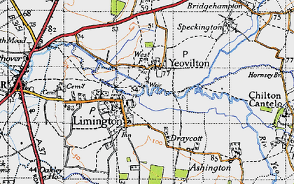 Old map of Yeovilton in 1945
