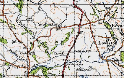 Old map of Yerbeston Mountain in 1946