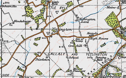 Old map of Yetlington in 1947