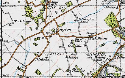 Old map of Yetlington Lane in 1947