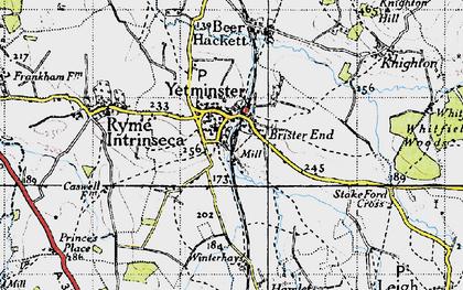 Old map of Winterhays in 1945