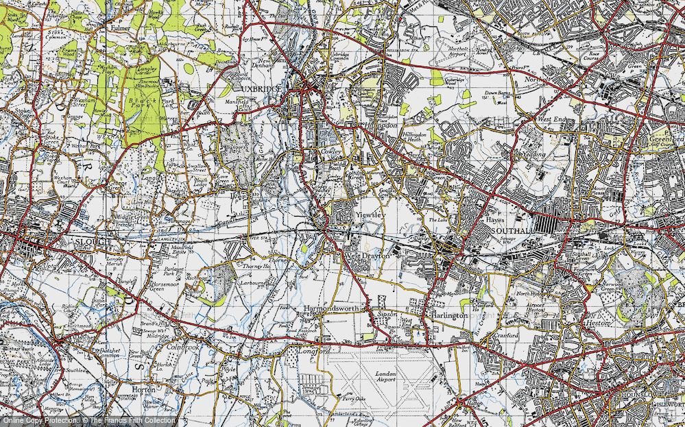 Old Map of Yiewsley, 1945 in 1945