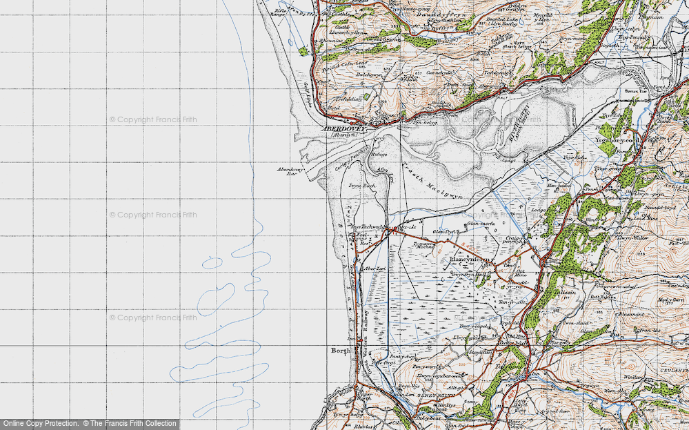 Old Map of Historic Map covering Aberdovey Bar in 1947