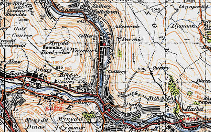 Old map of Ynyshir in 1947