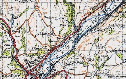 Old map of Ynysmeudwy in 1947