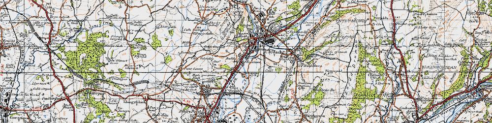Old map of Ynystawe in 1947