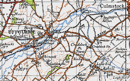 Old map of Yondercott in 1946