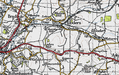 Old map of Yondover in 1945