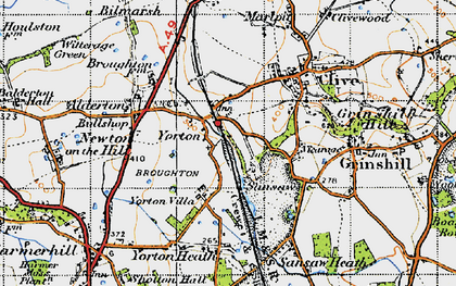 Old map of Yorton in 1947