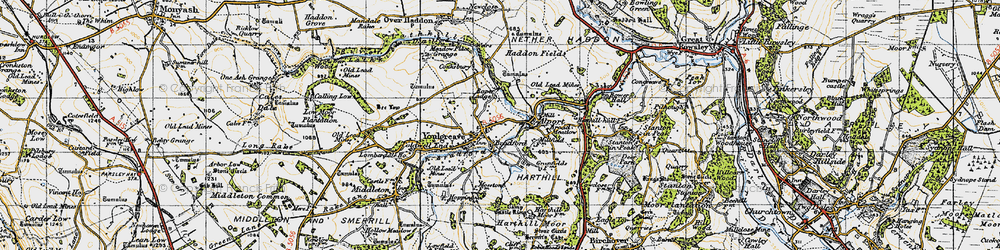 Old map of Youlgreave in 1947
