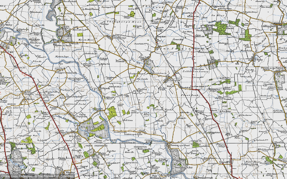 Old Map of Historic Map covering Linton Woods in 1947
