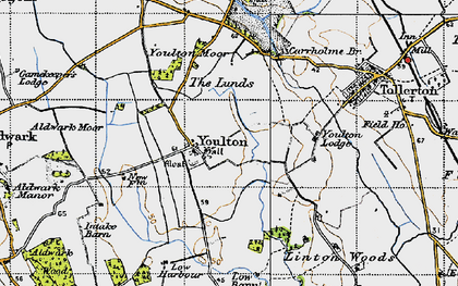 Old map of Youlton Moor in 1947