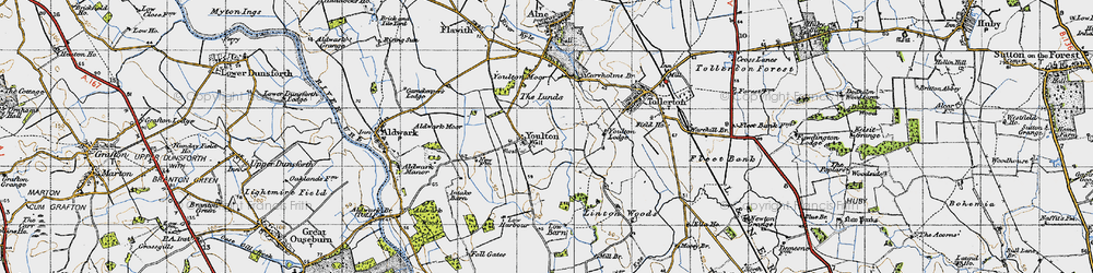 Old map of Youlton in 1947