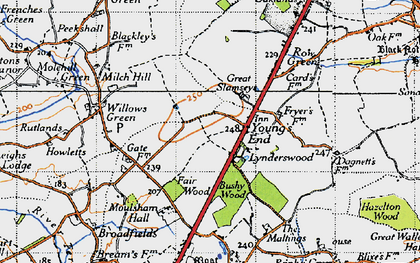 Old map of Young's End in 1945