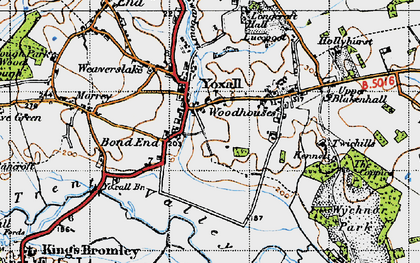 Old map of Yoxall in 1946