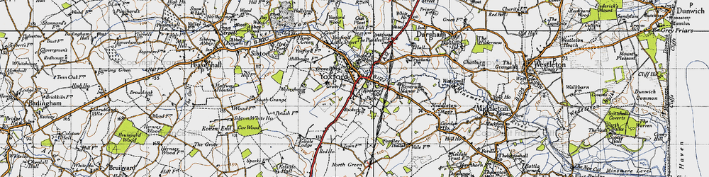 Old map of Yoxford in 1946