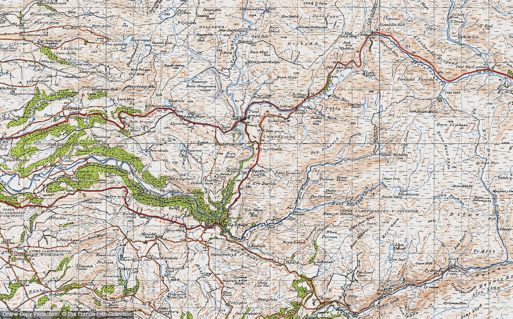 Old Map of Historic Map covering Afon Merin in 1947
