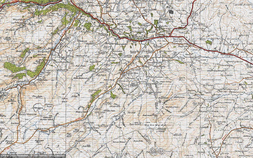 Old Map of Historic Map covering Afon Caletwr in 1947