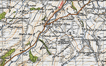 Old map of Afon Caletwr in 1947